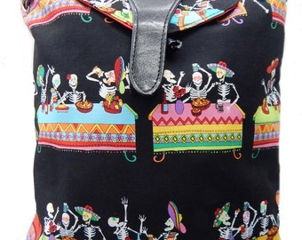 """US Handmade Backpack With Adjustable Handles """"DAY Of The Dead"""" Halloween Pattern Handbag Purse bag, Cotton,,NEW,"""