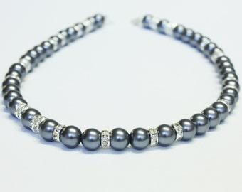 Pearl Necklace || Dark Grey