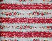 Yuwa Atsuko Matsuyama red stripe roses 30's collection - reproduction japanese quilt fabric