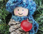 Blue Teacher Apple Pinecone Gnome Christmas Tree Ornament Crocheted Hat & Scarf Handpainted Wooden Holiday Decoration Distinctly Daisy