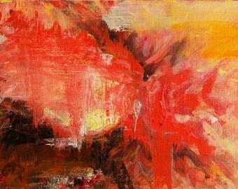 Small Abstract Painting 5 x 7 Dramatic Red Dark Brown Black Orange Yellow Gold artist Gwen Duda