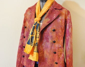 "Red Orange Medium Denim JACKET - Red Hand Dyed Upcycled Ralph Lauren Denim Double Breasted Peacoat Jacket - Adult Women Medium (40"" chest)"