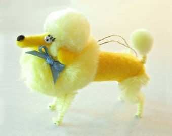 Pom Pom Poodle Christmas Ornament Decoration in Sunshine Yellow, Retro 50s, 60s Vintage Style