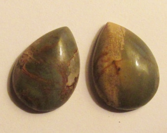 Pretty pair of PIcasso Jasper teardrop cabochons cabs
