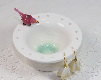 Pink bird earring bowl, pottery earring holder, ceramic earring display,  jewelry organizer