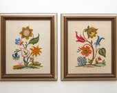vintage woodland deer and squirrel crewel embroidery framed art pair