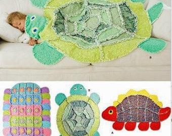 Childs' Rag Quilt Pattern, Dinosaur Rag Quilt, Turtle Rag Quilt, Caterpillar Rag Quilt, Simplicity Sewing Pattern 2493