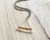 Hammered Brass Triangle Pendant Necklace