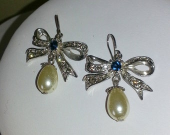 Pearl bow crystal hoop silver plated fashion earrings very sparkling amazingly