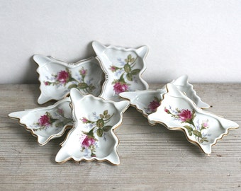 Butterfly Rose Ashtray Set Of Six Small Bone China