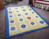 Grandmas Flower Garden - Twin Quilt, Antique Fabrics  - F2