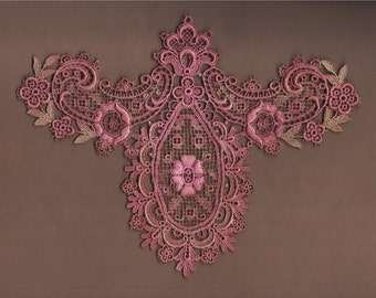 Hand Dyed Venise Lace Edwardian Bliss Applique Yoke Collar   Vintage Rose Bliss