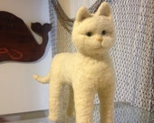 Natural white wool kittten  toy needle felted wool soft cuddly cat sculpture persian young cat stuffed animal life size