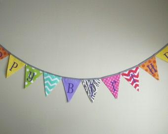 SO HAPPY 'Happy Birthday' Fabric Bunting