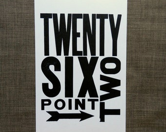 Art for Runner - Running Themed Art - Marathon - Twenty Six Point Two - Wall Art - Letterpress Poster Print - Black and White