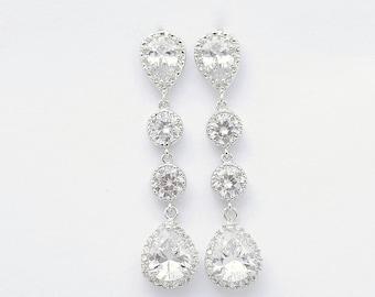 Wedding Earrings Crystal Bridal Jewelry Silver Cubic Zirconia Teardrop Earrings Crystal Bridal Earrings Wedding Jewelry, Rebecca