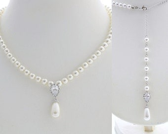 Wedding Pearl Necklace Bridal Jewelry Pearl Backdrop Necklace White Pearl Bridal Necklace Pearl Wedding Jewelry, Aria