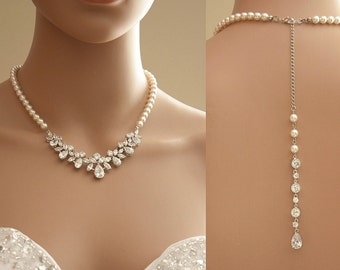 Back Bridal Necklace, Bridal Jewelry, Crystal and Pearl Wedding Necklace, Wedding Back Necklace Bridal Jewelry, Nicole