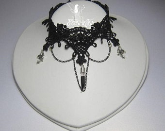 Dragon's Blood Gothic style black lace choker necklace with glass fang vial