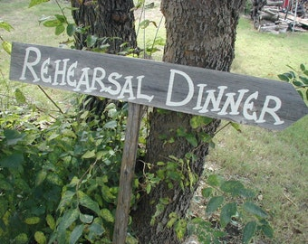 Barn Wood Natural Grey Rehearsal Dinner Wedding Sign With Stake Western Rustic Bridal Directional Arrow