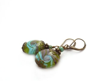 Blue Lampwork Earrings - Green, Purple - Round Glass Earrings - Colorful Bohemian Earrings