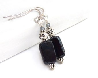 Black Earrings - Picasso Rectangle Czech Glass - Black & Gray - Simple Petite Earrings - Yoga Jewelry