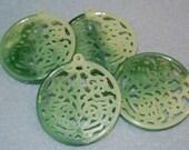 Vintage Lucite Beads, Unusual Openwork/Cut Disc Pendants, Mottled Green Faux Jade Look, Intricate Eastern Look Design, 43mm, One Pair, B6-3