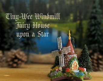 Tiny-Wee Fairy Windmill Upon a Star - Miniature Handcrafted Stone Woodland Windmill with Wildflower Patches, Fairy Door and Pine Trees