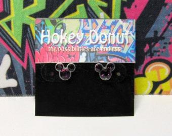 Mickey Mouse February Birthstone Stud Earrings