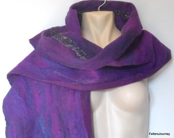 Long Felted Scarf - purple teal and charcoal - deep fringed