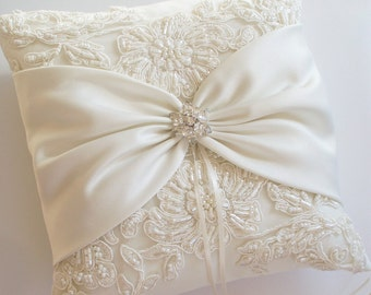 Wedding Ring Pillow with Beaded Alencon Lace, Ivory Satin Sash Cinched by Crystals - The MORGAN Pillow