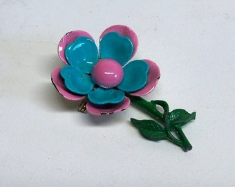 Sixties Mod Flower Power Turquoise ande Pink flower brooch pin