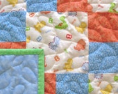 Baby Quilt for Boy, Handmade Baby Quilt, Patchwork Baby Crib Quilt, Quilted Dinosaur Baby Blanket, Baby Bedding