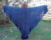 Blue Shawl, Large Handwoven Shawl, Triangle Shawl Wrap, Hand Woven Shawl, Sapphire Blue Shawl