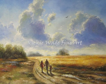 Autumn Walk With Mom and Dad Original Oil Painting 24X24 family, landscape wall art countryside paintings, fall, fields, Vickie Wade