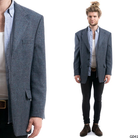 Blue Wool Blazer Mens