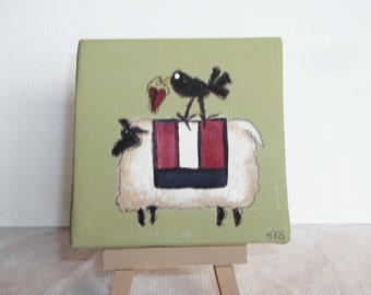 Mini Canvas With Easel   Primitive Sheep With Heart  Hand Painted
