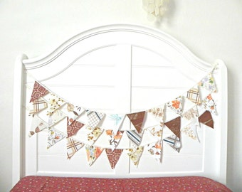 Earthy Rustic Browns Fabric Bunting Banner 9 Feet / Rustic Vintage Wedding Bunting / Birthday Party Garland / Carnival Theme Party