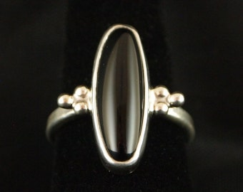 Sterling Silver and Black  Onyx  Ring size 8 1/2