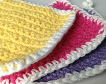 Set of 3 Cotton Washcloths Fiesta Hot Pink, Deep Lavender and Canary Yellow White Cotton Coasters, Pot Holder Crochet