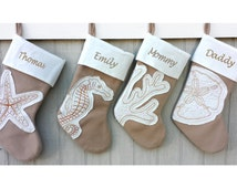 Coastal Beach Christmas Stockings Seahorse Coral Starfish Sand Dollar White Beige Modern House Sea Shore Stocking Personalized Embroidered