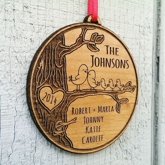 Personalized Wood Engraved Family Ornament