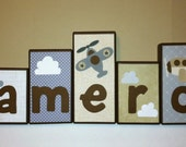 Personalized Wood Blocks - M2M CoCaLo's Kent bedding - Baby Room Custom Name Block Letters - Airplane - Baby Letter Blocks