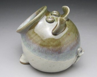 Ceramic Salt Pig - Pig Jar - Green and White - Made to Order