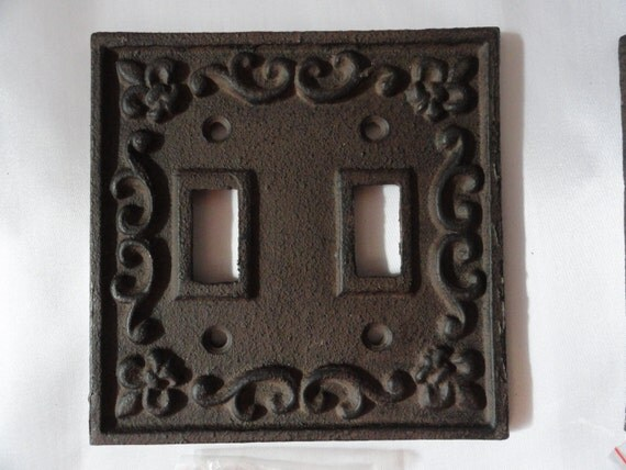 Cast Iron Double Light Switch Plate Bronze Shabby Cottage