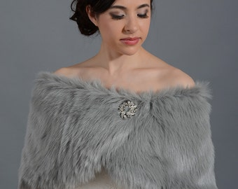 Silver faux fur bridal wrap shrug stole shawl cape FW005-Ivory regular / plus size