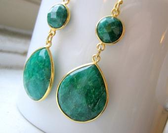 Emerald Teardrop Earrings - Statement Bezel Set Gold Vermeil Drop - Chandelier Dangle Earrings