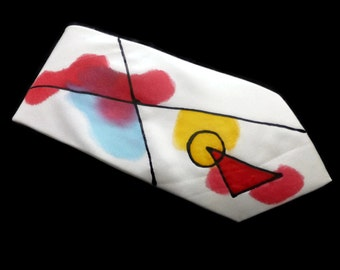 Abstract Hand Painted Silk Tie in Red, Blue & Yellow by Julie Riisnaes