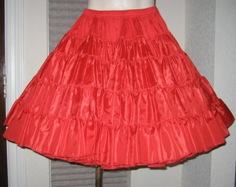 Red Ruffled Petticoat - Rockabilly - Tiered - Adjustable - S-M Vintage