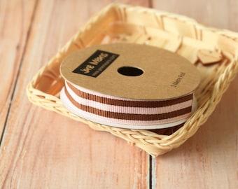 PINK and BROWN Stripe Grossgrain ribbon reel 3m spool